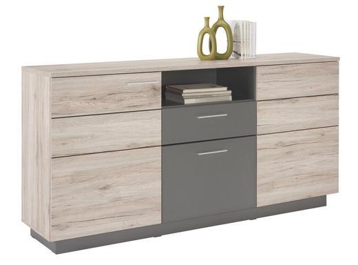 SIDEBOARD matt, Melamin Eichefarben, Grau - Eichefarben/Alufarben, Design, Holzwerkstoff/Kunststoff (179,8/90/41,3cm) - Hom`in