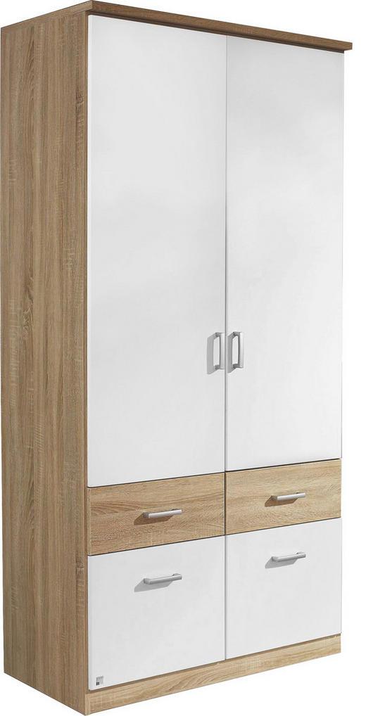 KLEIDERSCHRANK in Weiß, Eichefarben - Eichefarben/Silberfarben, Design, Holzwerkstoff/Kunststoff (91/199/56cm) - Boxxx
