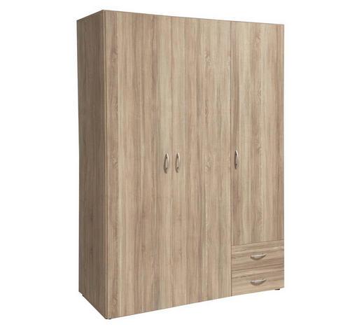 ORMAR S KLASIČNIM VRATIMA - boje aluminija/hrast Sonoma, Konvencionalno, drvo/plastika (120/177/52cm) - Boxxx