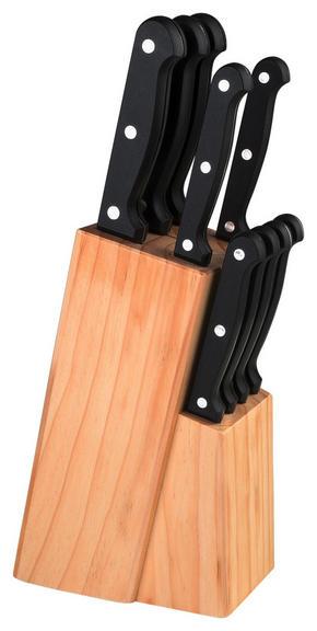 KNIVBLOCK - rostfritt stål-färgad, Basics, metall/trä (33/9/17cm) - Justinus
