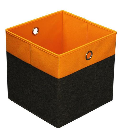 FALTBOX Metall, Textil Anthrazit, Orange - Anthrazit/Orange, Design, Textil/Metall (32/32/32cm) - Carryhome