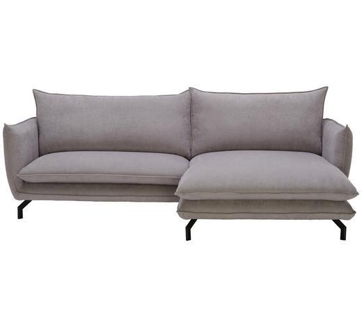 WOHNLANDSCHAFT in Textil Hellgrau - Hellgrau/Schwarz, Design, Textil/Metall (259/175cm) - Hom`in