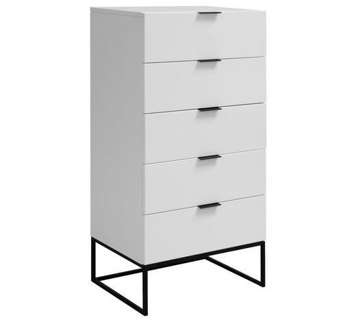 KOMODA, bílá - bílá/černá, Design, kov/kompozitní dřevo (60/120/45cm) - Ambia Home