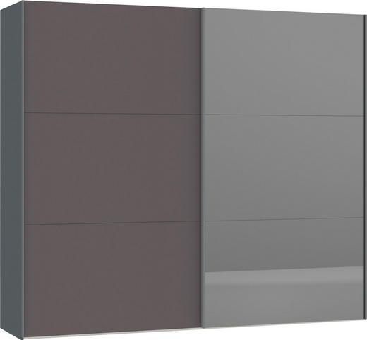 SCHWEBETÜRENSCHRANK 2-türig Dunkelgrau, Silberfarben - Dunkelgrau/Silberfarben, Design, Glas/Holzwerkstoff (252,8/220/65cm) - Jutzler