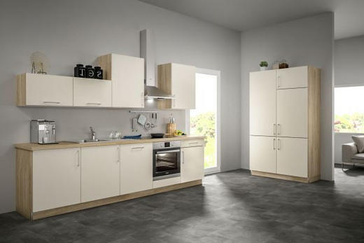 Eckküche ohne E-Geräte 120+300 cm - Eichefarben/Magnolie, Design (120+300cm) - Set one by Musterrin