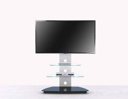 TV-ELEMENT Alufarben, Schwarz - Alufarben/Schwarz, Design, Glas/Metall (90/120/55cm)