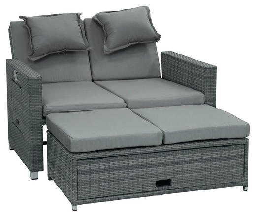 LOUNGESOFA Kunststoffgeflecht Stahl - Anthrazit/Grau, Design, Kunststoff/Textil (110/88/74cm) - AMBIA GARDEN