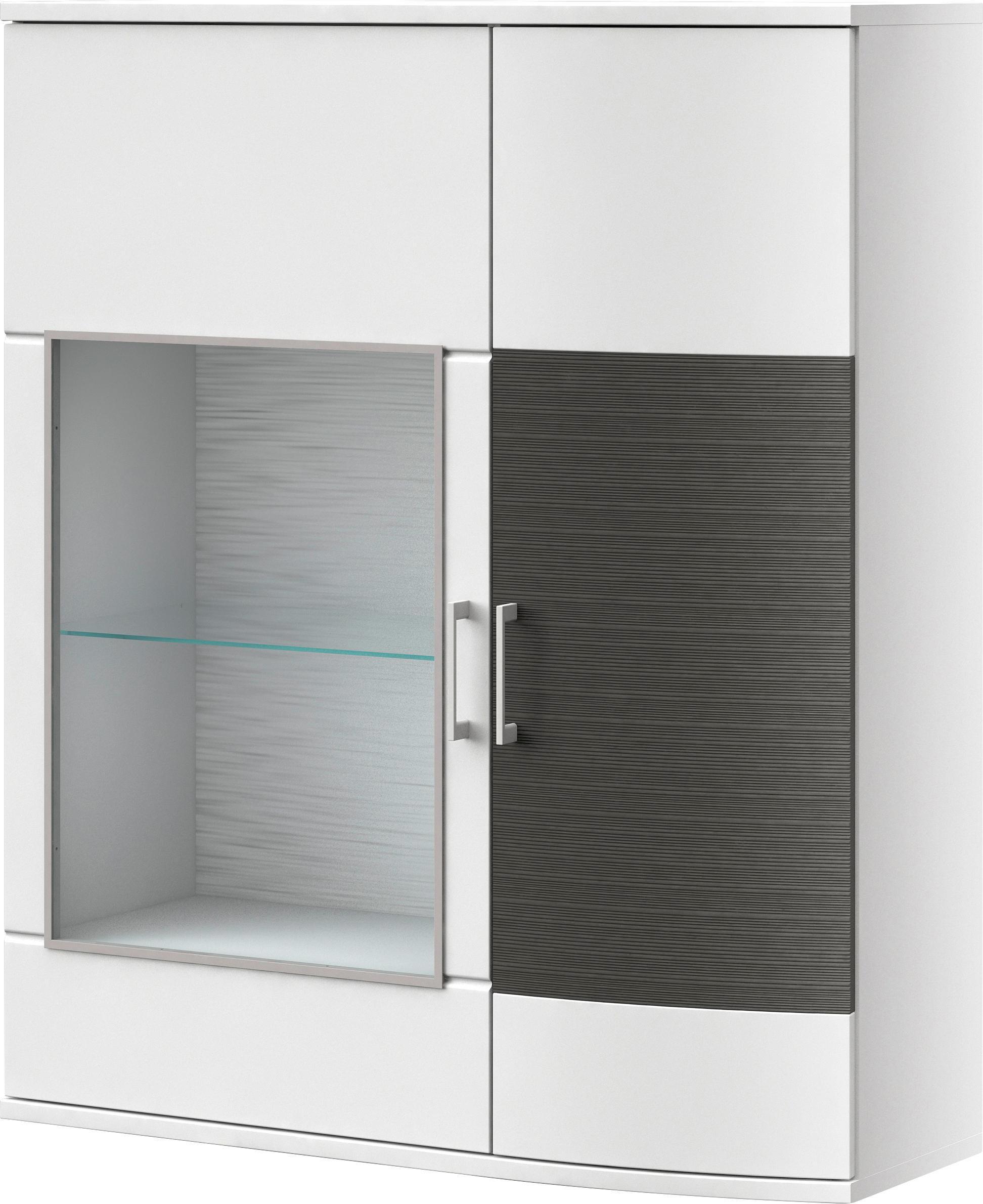 KOMMODE Graphitfarben, Weiß - Chromfarben/Graphitfarben, MODERN, Glas/Holzwerkstoff (105/127,6/40,7cm) - XORA