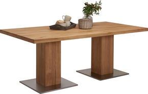 MATBORD - ekfärgad/rostfritt stål-färgad, Natur, metall/trä (200/100/76cm) - Linea Natura