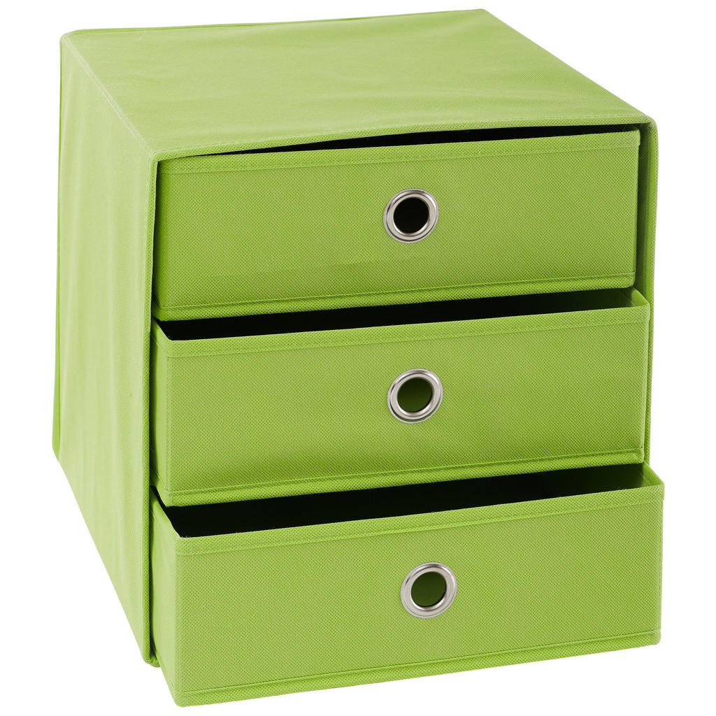 Image of Carryhome Faltbox , Cubus 3 , Grün, Silberfarben , Metall, Textil, Karton , 32x32x31.5 cm , vernickelt,Vliesstoff , faltbar , 001635001207