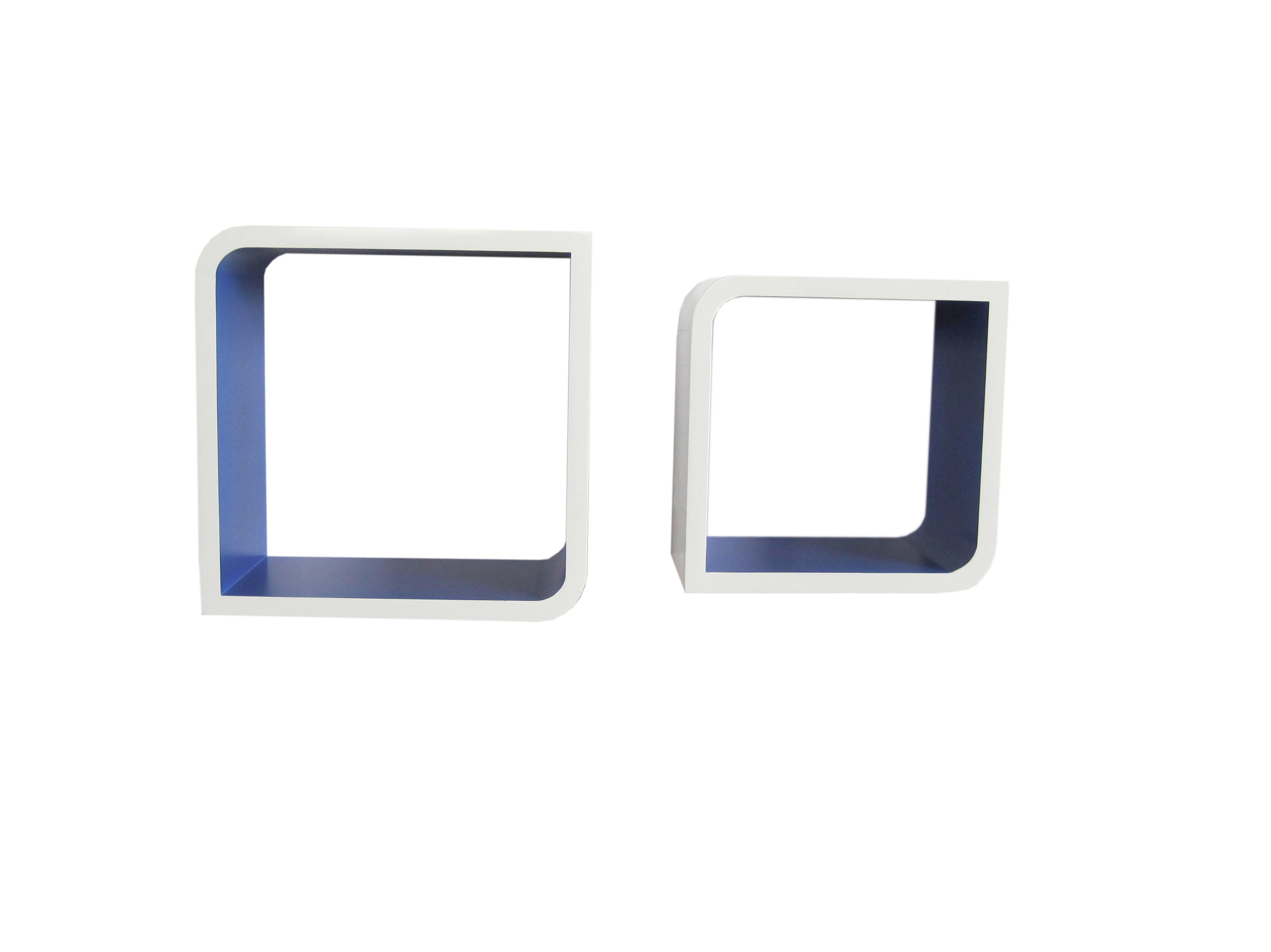 SET ZIDNIH POLICA - bijela/plava, Moderno, drvni materijal (28/23/28/23/15cm) - BOXXX