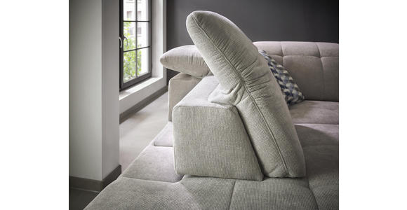 WOHNLANDSCHAFT in Textil Hellgrau - Chromfarben/Hellgrau, Design, Textil/Metall (221/251cm) - Dieter Knoll