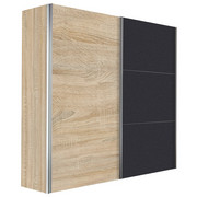 SKŘÍŇ S POSUVNÝMI DVEŘMI, barvy grafitu, barvy dubu - barvy dubu/barvy grafitu, Design, kov/kompozitní dřevo (200/216/68cm) - Hom`in