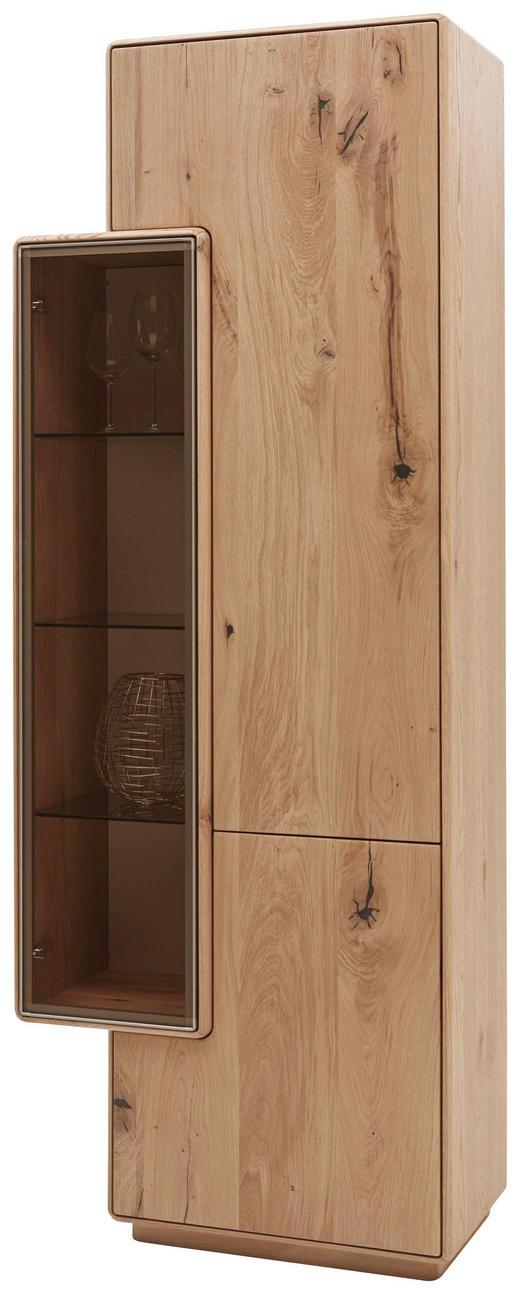 VITRINE Wildeiche massiv Eichefarben - Eichefarben, Design, Glas/Holz (75/198,5/38,5cm) - Valnatura