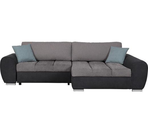 WOHNLANDSCHAFT in Textil Grau, Hellgrau, Hellblau - Chromfarben/Hellgrau, Design, Textil (290/175cm) - Carryhome