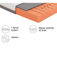 GELSCHAUMMATRATZE Primus 250 90/200 cm  - Dunkelgrau/Weiß, Basics, Textil (90/200cm) - Schlaraffia