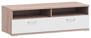LOWBOARD Melamin Weiß, Eichefarben  - Eichefarben/Alufarben, Design, Metall (130/41,2/49cm) - Xora
