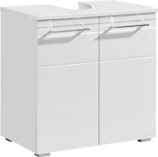WASCHBECKENUNTERSCHRANK Weiß - Chromfarben/Silberfarben, KONVENTIONELL, Holzwerkstoff/Metall (60/61/38cm) - Xora