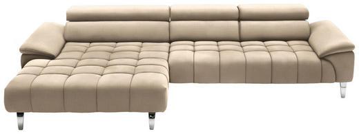 WOHNLANDSCHAFT in Textil Beige - Chromfarben/Beige, Design, Textil/Metall (190/329cm) - Beldomo Style