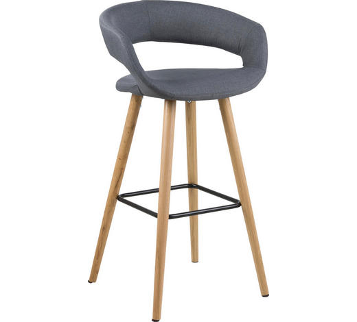 BARHOCKER in Dunkelgrau - Dunkelgrau/Eichefarben, Design, Holz/Textil (55/98/46,5cm) - Carryhome
