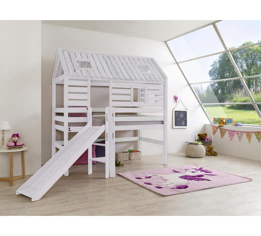 SPIELBETT - Weiß, Design, Holz (208/201/223cm)