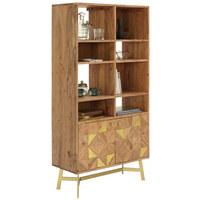 REGAL 80/155/35 cm akacija, zlata - zlata/akacija, Trendi, kovina/leseni material (80/155/35cm) - Landscape