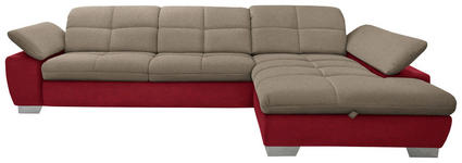 WOHNLANDSCHAFT in Textil Rot, Taupe - Taupe/Chromfarben, Design, Textil/Metall (297/204cm) - Xora