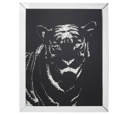 BILD - Silberfarben/Schwarz, Design, Glas/Holzwerkstoff (80/100/4,7cm) - Xora