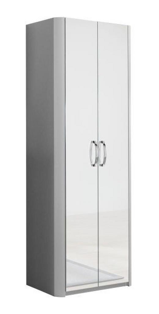 GARDEROBENSCHRANK Alufarben, Weiß - Chromfarben/Alufarben, Design, Glas/Holzwerkstoff (66/187/37,5cm) - MODERANO