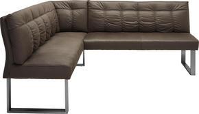 HÖRNBÄNK - grå/rostfritt stål-färgad, Design, metall/textil (175/207/92/63,5cm) - Novel