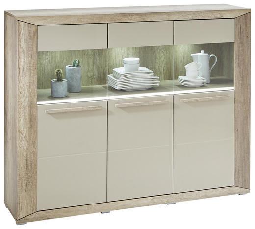 HIGHBOARD Hochglanz, lackiert Eichefarben, Grau - Eichefarben/Silberfarben, Design, Glas/Holzwerkstoff (159/125/37cm) - Ti`me
