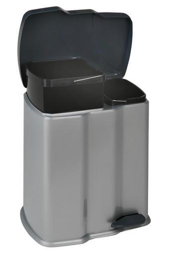 KOŠ ZA SMETI GUNNAR - črna/srebrna, Basics, umetna masa (39,5/29/43cm)