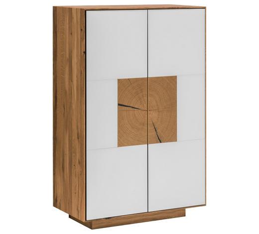 SCHUHSCHRANK 72/112/37 cm  - Eichefarben/Weiß, MODERN, Glas/Holz (72/112/37cm) - Linea Natura