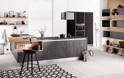 EINBAUKÜCHE - Graphitfarben, Design - Moderano