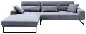 Wohnlandschaft in Hellblau Textil   - Schwarz/Hellblau, Design, Textil/Metall (200(190)/288cm) - Pure Home Lifestyle