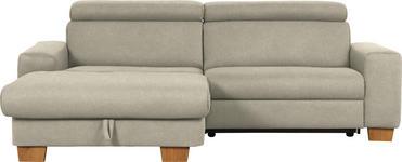 WOHNLANDSCHAFT Mikrofaser Schlaffunktion - Schlammfarben/Eichefarben, Design, Textil (178/262cm) - Hom`in