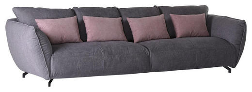 MEGASOFA Flachgewebe Grau, Rosa - Schwarz/Rosa, LIFESTYLE, Textil (320/80/125cm) - Carryhome