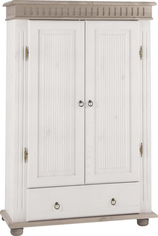 KOMMODE Kiefer massiv Grau, Weiß - Weiß/Grau, LIFESTYLE, Holz/Metall (100/147/40cm) - Carryhome