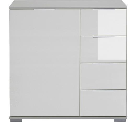 KOMMODE 81/83/41 cm  - Alufarben/Weiß, Design, Glas/Holzwerkstoff (81/83/41cm) - Carryhome