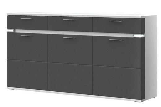 SIDEBOARD Melamin Graphitfarben, Weiß - Graphitfarben/Alufarben, Design, Holzwerkstoff/Kunststoff (180,1/93/41cm) - Stylife