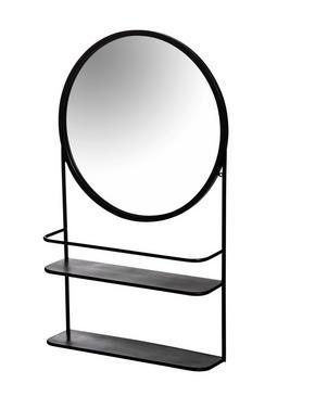 VÄGGSPEGEL - svart, Design, metall/glas (46/78/12cm)