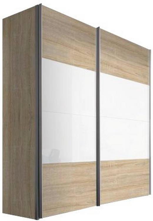 SCHWEBETÜRENSCHRANK in Weiß, Eichefarben - Eichefarben/Alufarben, Design, Glas/Holzwerkstoff (200/216/68cm) - Hom`in