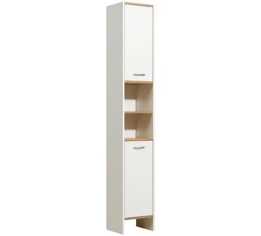 HOCHSCHRANK Weiß  - Eichefarben/Alufarben, KONVENTIONELL, Holzwerkstoff/Kunststoff (33/195,5/28cm) - Carryhome