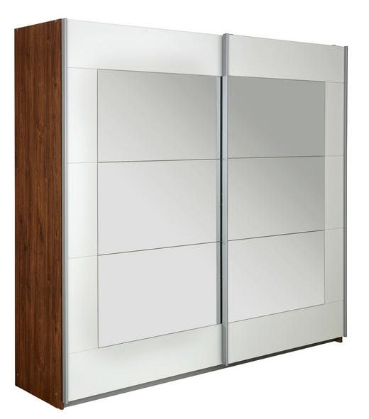 SCHWEBETÜRENSCHRANK 2-türig Eichefarben, Weiß - Eichefarben/Alufarben, Design, Glas/Holzwerkstoff (226/210/62cm) - Xora