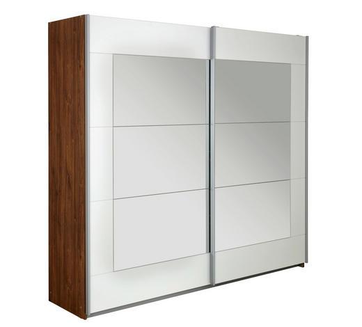 SCHWEBETÜRENSCHRANK 2-türig Weiß, Eichefarben  - Eichefarben/Alufarben, Design, Glas/Holzwerkstoff (226/210/62cm) - Xora