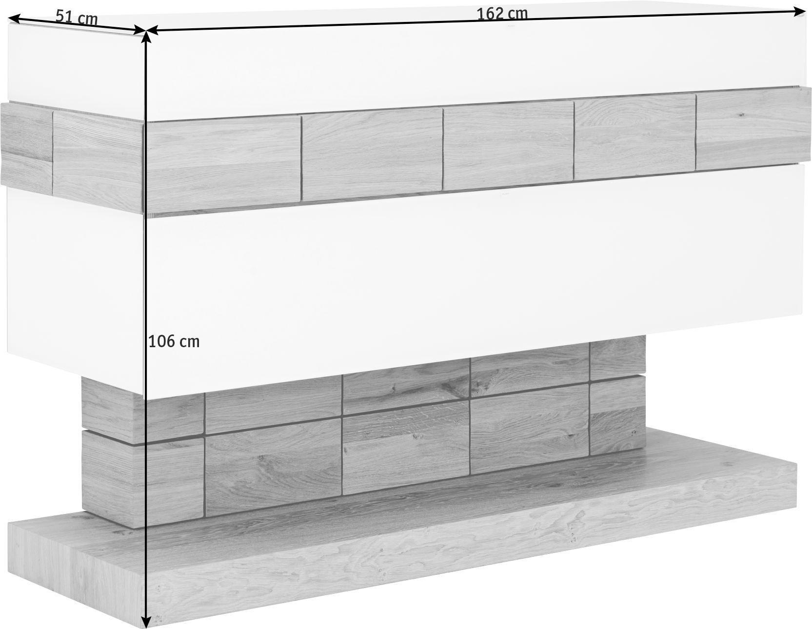 SIDEBOARD Wildeiche massiv, mehrschichtige Massivholzplatte (Tischlerplatte) geölt Eichefarben, Weiß - Eichefarben/Weiß, Design, Glas/Holz (162/106/51cm) - VOGLAUER