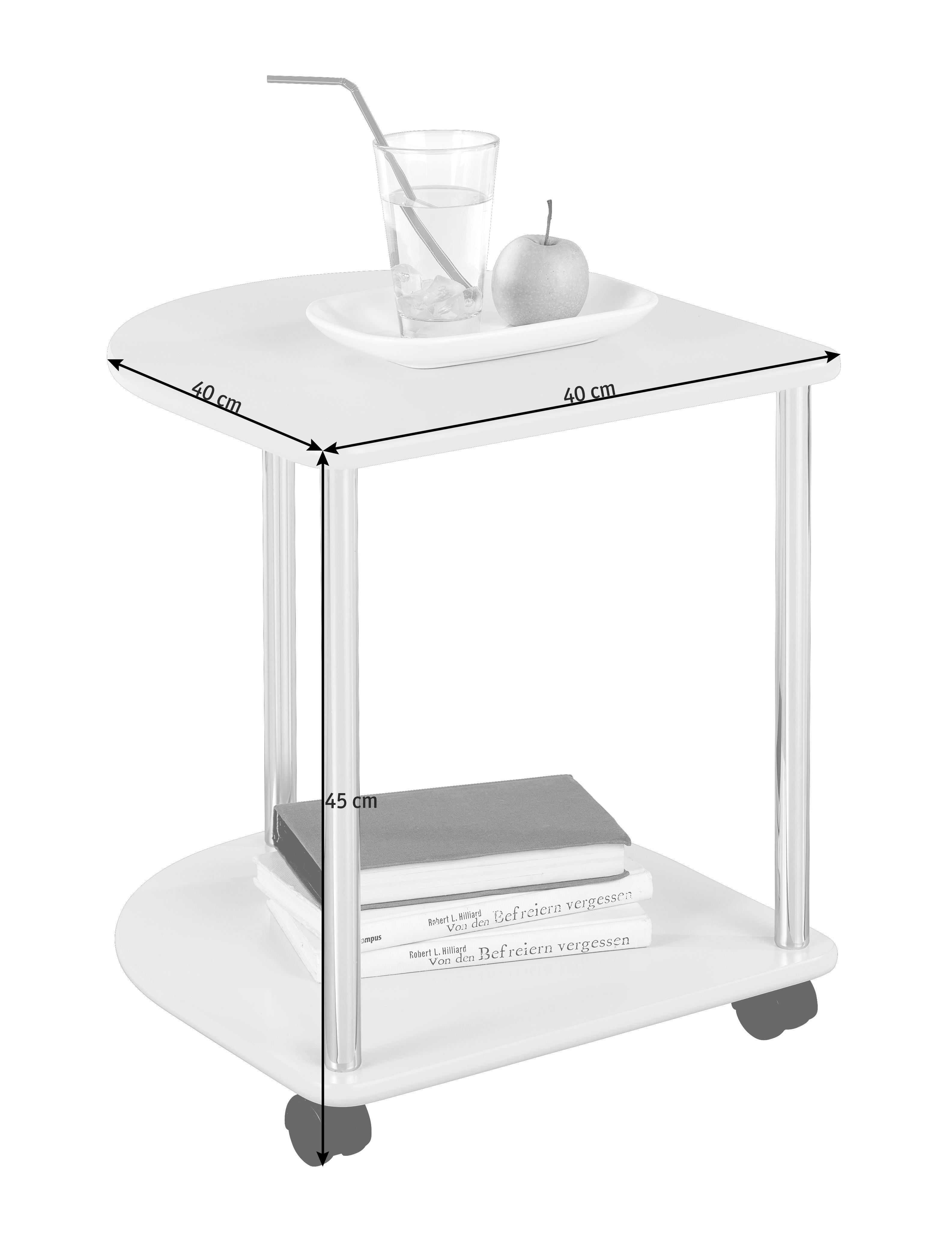 AVLASTNINGSBORD - vit/kromfärg, Design, metall/träbaserade material (40/45/40cm) - CARRYHOME