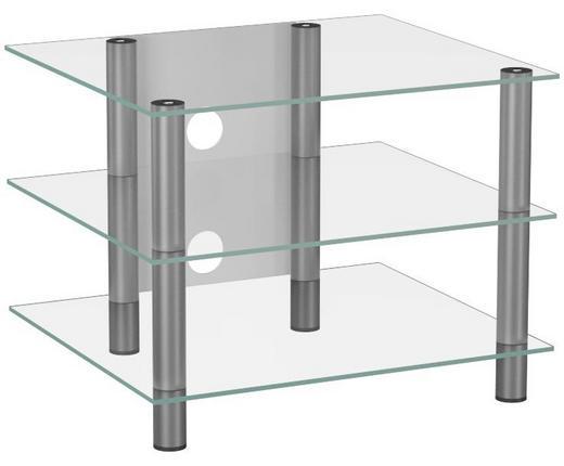 PHONOTISCH Glas, Metall Klar, Silberfarben - Klar/Silberfarben, KONVENTIONELL, Glas/Metall (60/45/42cm)