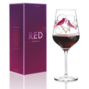 ROTWEINGLAS 580 ml Red - Platinfarben/Rot, MODERN, Glas (10/10/25cm) - RITZENHOFF