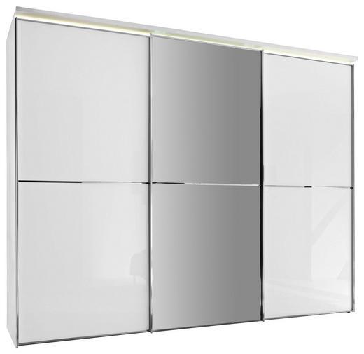 SCHWEBETÜRENSCHRANK 3-türig Weiß - Chromfarben/Weiß, Design, Glas/Holzwerkstoff (280/222/68cm) - Moderano